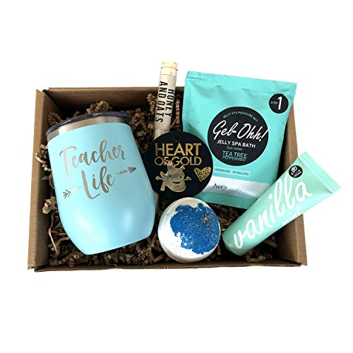 Best Teacher Gifts - Appreciation Box - Pampering Thank You Basket for Women (Stress Relief)