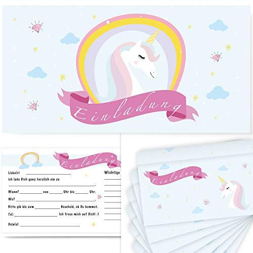 Postkartenschmiede 12 Einhorn Einladungskarten Geburtstag Kinder Mädchen | Einladungen Kindergeburtstag | Einladung Einhorn-Party-Set | Geburtstagseinladungen Maedchen | Pyjama-Party | mit Umschlag