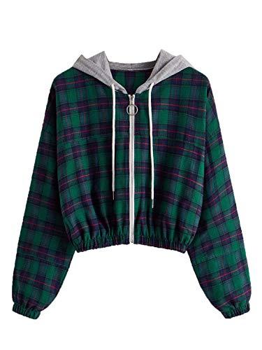 SOLY HUX Women's Long Sleeve Plaid Hoodie Jacket Full Zip Sweatshirt Multicoloured M