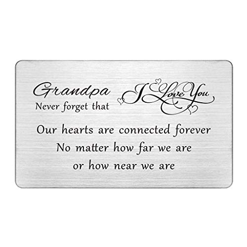 Best Grandpa Gifts, Grandpa Birthday Card Wallet Insert, Grandpa Long distance, Father's day Gifts for Grandfather, I Love My Grandpa, Personalized Gifts