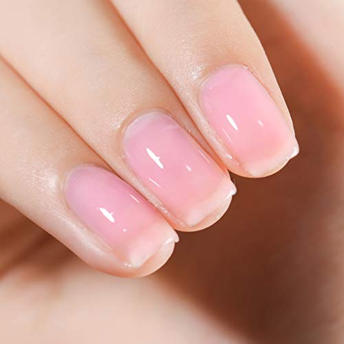 FANZEST Gel Nail Polish LED UV Gel Soak Off Clear Nail Gel Polish Varnish Nail Art Transparent Color Manicure Pedicure (Healthy Shine Pink)