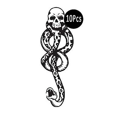 DaLin Temporary Tattoos 10Pcs Death Eaters Dark Mark Mamba Skull Temporary Tattoo for Costume Accessories and Parties