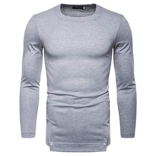 T-Shirts Manches Longues Hommes Shirt 2019 Automne Casual Coton Blend Chemise de Fond de Couleur Unie T-Shirt Manches Longues Code européen-S-2L,lightgray,L