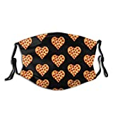 Pepperoni Pizza Heart Face Mask Reusable Washable Bandanas With Adjustable Earloops Fashion Scarves For Adult With 2 Pcs Filters