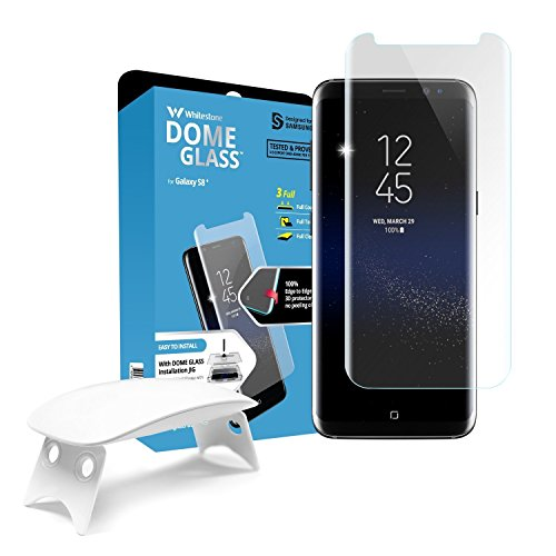 Galaxy S8 Plus Screen Protector, [Dome Glass] Full Coverage 3D Curved Tempered Glass Shield [Liquid Dispersion Tech] Easy Install by Whitestone for Samsung Galaxy S8+ (2017) - 1 Pack