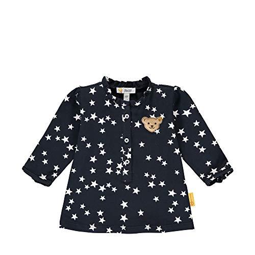 Steiff Baby-Mädchen mit süßer Teddybärapplikation Bluse Langarm, Navy, 068