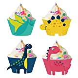 HOWAF Dinosaur Cupcake Wrappers Toppers(24 Pack), Dinosaur Cupcake Decorations Dino Cupcake Holders Cake Decorations for Boys Kids Birthday Party Decor Favors Dinosaur Party Supplies