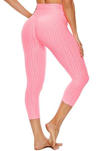 FITTOO Mallas 3/4 Leggings Capris Mujer Pantalones Yoga Alta Cintura Elásticos Super Suave #1 Rosa L
