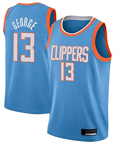 Ropa Camisetas de baloncesto para hombre Los Angeles Clippers # 13 Paul George NBA Ocio de verano Chaleco deportivo Suelte transpirable Uniforme Uniforme sin mangas Camiseta Blue M (170 ~ 175cm) WO Ni
