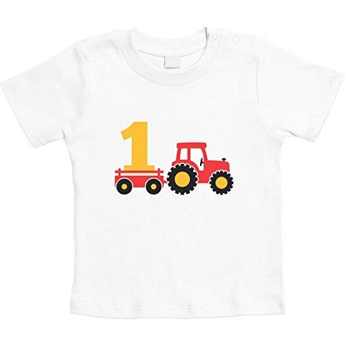 Shirtgeil 1 Jahr Geburtstag Junge Geschenk Traktor Bagger Unisex Baby Thirt 18-24 Monate Weiß