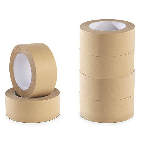 Cinta de papel kraft ecológica - paquete de 6 | Compatible con pistolas de cinta estándar | Cinta artesanal reciclable | Pukkr