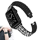 Compatible con Apple Watch Strap Mujer, Acero Inoxidable Bling...