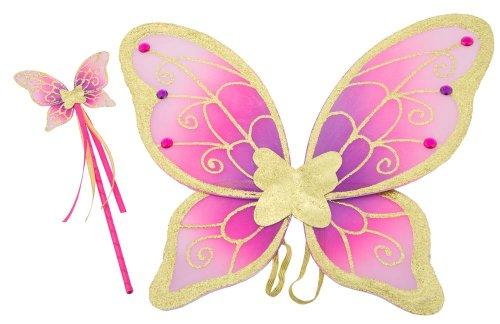 Alas de mariposa y varita mágica doradas, moradas y rosa de Lucy Locket para disfraz infantil de hada (3-10 años)