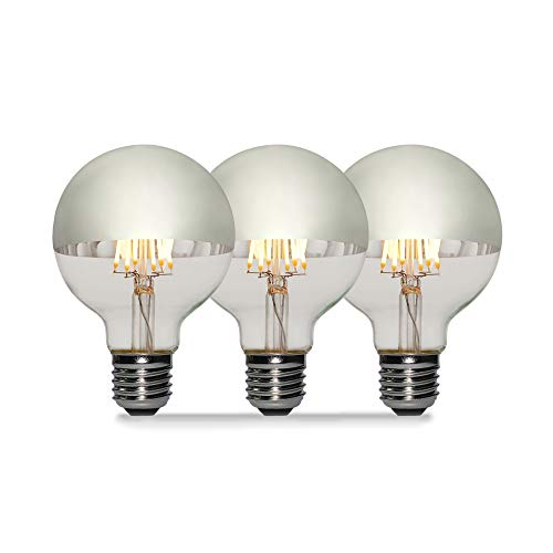 3 Pack - Modvera 60w Equivalent LED Half Chrome G25/G80 6W Silver Bowl Globe Shape Medium (E26) Base Warm White 2700K, 630 Lumens, Dimmable LED Filament Vintage Bulbs.UL Listed RoHS Compliant
