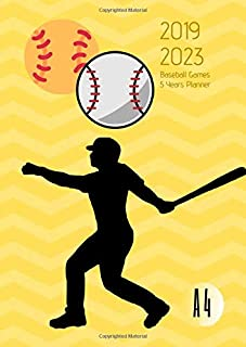 2019-2023 Five Year Planner A4 Baseball Games Goals Monthly Schedule Organizer: 60 Months Calendar; Agenda Appointment Diary Journal With Address ... Notes, Julian Dates & Inspirational Quotes