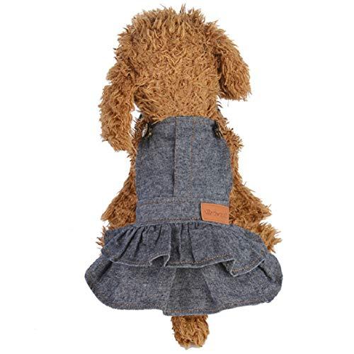 Hond puppy jurk, herfst winter schattige kleding Doggy kostuum denim jurken strap rok leuke huisdier puppy pullover