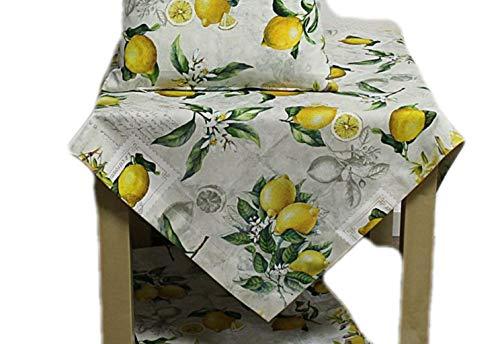Hossner Tischdecke Mitteldecke Decke Zitrone Mediterran 110x110 cm 100% Baumwolle