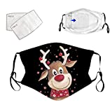 10PCS Christmas Printed Face_Mask for Women and Men, Black Washable Facemask Coverings, Reusable Adjustable Ear Hook, for Outdoor Indoor Sports Party Holiday