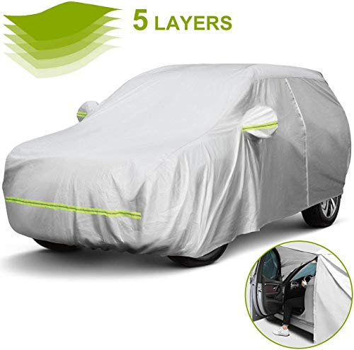 Favoto Car Cover SUV Cover Universal Fit 188 inch to 198 inch 5 Layer Driver Side Zipper Design Sun Protection with Night Reflective Waterproof Windproof Dustproof Snow Leaves Scratch Resistant