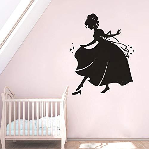 YuanMinglu Prinzessin Mädchen Wandtattoo Mädchen Raumdekoration Vinyl Wandkunst Wand Niedlich Wandkunst Schwarz 35x42cm