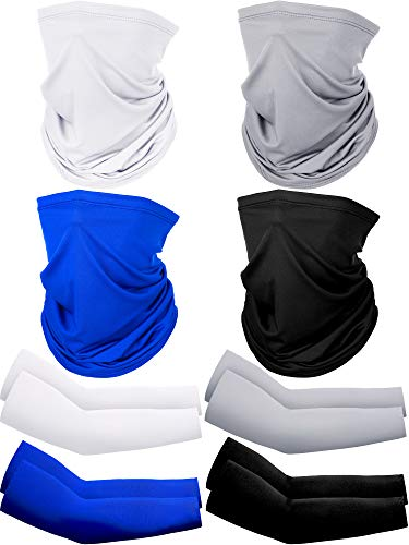 8 Pack Summer UV Protection Face Cover Neck Gaiter Scarf and Ice Silk Cooling Arm Sleeves (Black, Dark Blue, Grey, White)
