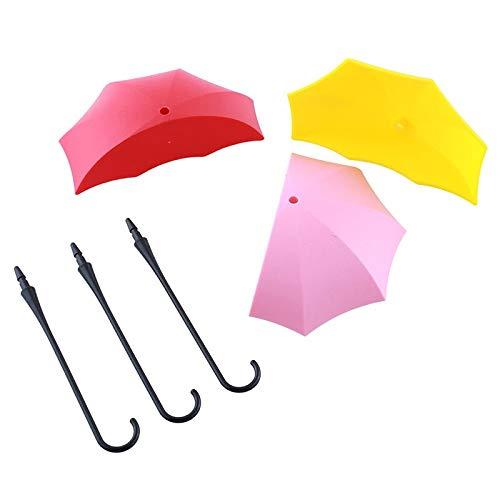 Opslag Paraplu - Kleurrijke 3 Stuk Veel Paraplu Vorm Zelfklevende Muur Mount Deur Haak Hanger Haken Tas Sleutelhouder - Slangrek Koel Strijkplank Hanger Coat Unit Plant Witte Haak As Pic Style B