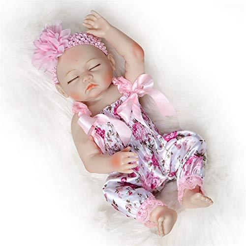 Ziyi Rebirth-Puppe-weiches Silikon-Vinyl Naturgetreue Kleinkinder Augen geschlossen Simulation Reborn Babys Mädchen Baby-Puppen handgemachte Kinder Spielzeug Geschenke, 50cm20inches,Weiß