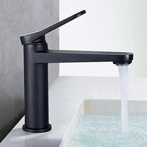 Waschtischarmatur Schwarz, Dalmo DBWF03JD Wasserhahn Bad mit NEOPERL ABS-Belüfter und massiver Messingkonstruktion, Badarmatur 100% bleifreiem und nickelfreiem, Waschbecken Wasserhahn