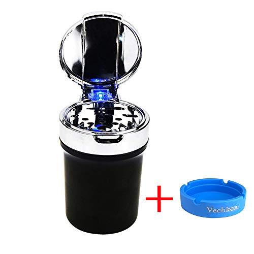 Posacenere da Sigaretta per Auto Supporto per Portatile Tazza di Cilindro con Autoestinguente Senza luce blu LED