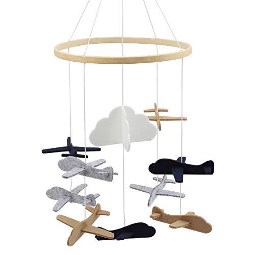 Herefun Baby Windspiel Junge, Bettglocke, Mobile Krippe, Mobile für Babybett, Baby Mobile Windspiel, Baby Windspiel Holz, Krippe Mobile für Jungen und Mädchen (Flugzeug)