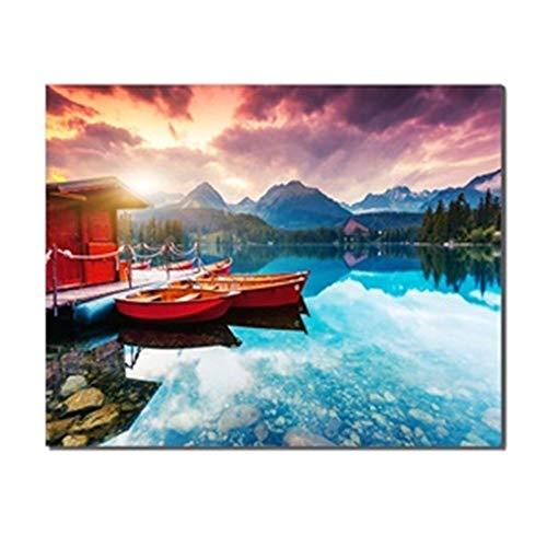 SADHAF Montañas y cielo colorido río único papel tapiz de pared art deco imprimir Sala de estar arte A1 30x40cm