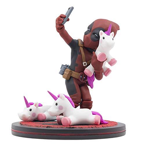 Quantum Mechanix QMVL026 Deadpool #Unicornselfie Q-Fig Diorama, Mehrfarbig