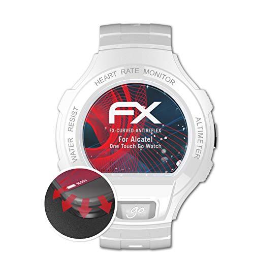 atFoliX Schutzfolie kompatibel mit Alcatel One Touch Go Watch Folie, entspiegelnde & Flexible FX Bildschirmschutzfolie (3X)