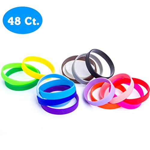 "48pcs Silicone Wristbands Rubber Bracelets for Parties, Sports and Events, Durable and Flexible Customizable (16 color mixed, Adult/8"")"