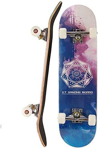 Komplette Skateboards Für Anfänger Pro 31 Zoll Komplette Skateboards Für Teenager Anfänger Mädchen Jungen Kinder Erwachsene, Maple Wood Skateboard (Color D)