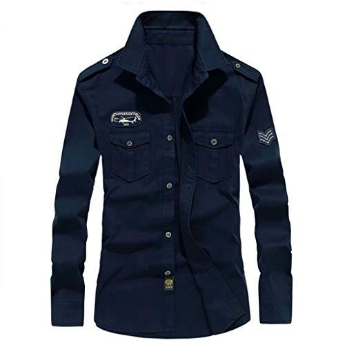 ZJEXJJ Herren Outdoor Hemden Arbeitskleidung Bestickte Hemden Herren Slim Shirts Komfortable Langarmshirts (Farbe : Blau, größe : XXL)