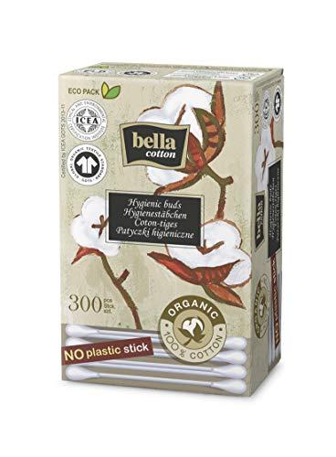bella cotton BIO Wattestäbchen mit Papierschaft in der Faltschachtel(3 x 300 Stück)