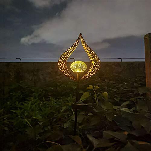 MLXLX luz de llama solar jardín al aire libre impermeable enchufe de tierra luz de hierro forjado luna luz decorativa jardín paisaje césped luz