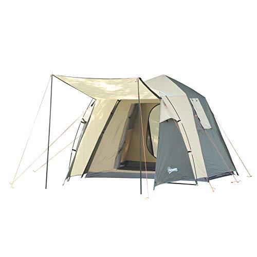 Outsunny Tente Pop up Montage instantané - Tente de Camping familiale 3-4 pers. - 2 Portes + 2 fenêtres + Chambre - dim. 2,25L x 4,45l x 1,75H m Fibre Verre Polyester Oxford Beige Vert Kaki