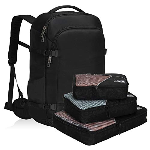 Hynes Eagle 45L Travel Backpack Carry on Backpack Weekender Bag with Compression Packing Cubes 3 Pieces Set, Black