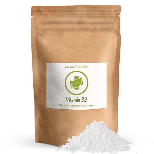 Vitamin B3 (Nicotinamid) Pulver - 100 g - in geprüfter Qualität - absolut rein ohne Rückstände - 100% vegan und rein - glutenfrei, laktosefrei - OHNE Hilfs- u. Zusatzstoffe