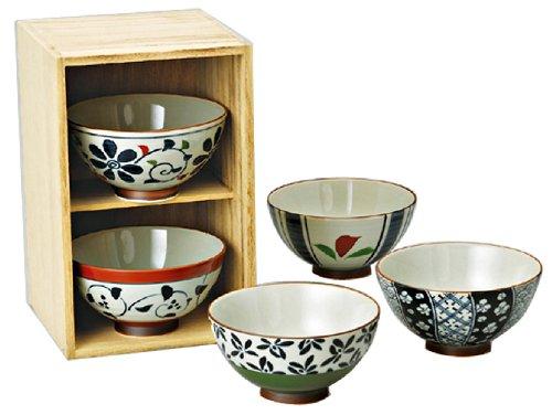 西海陶器 波佐見焼 茶碗 染錦いろどり 木箱入 直径11.5 cm 5個 セット 31651