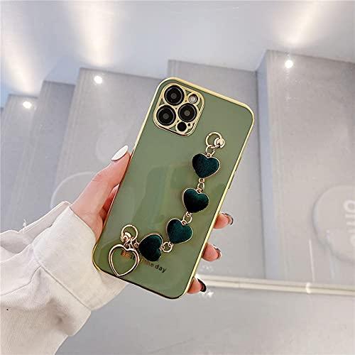 DEIOKL Funda de teléfono con Pulsera de Felpa de corazón de Amor de Lujo para iPhone 12Mini SE 2 7 8 Plus X XR XS 11Pro MAX Cubierta Trasera de Silicona chapada, C, para iPhone 12pro MAX