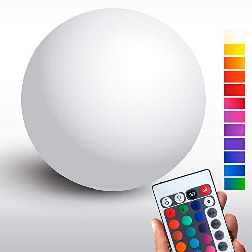 LED Kugelleuchte mit integrierten Akku, 50cm Kugel-Dekolampe mit Farbwechsel Fernbedienung für innen & außen - wetterfeste (IP54) kabellose Gartenbeleuchtung - hängend & stehend - 42 Helligkeitsstufen