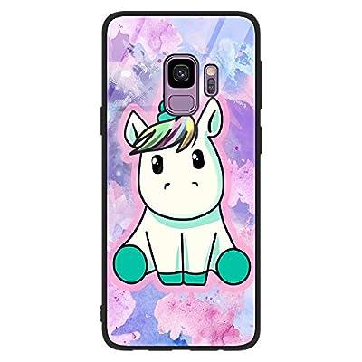 ZhuoFan Funda Samsung Galaxy S9 Plus, Cárcasa Silicona 3D Cristal Templado con Dibujos Design Antigolpes de Protector Case Cover Piel Fundas para Movil Samsung S9Plus 6,2 Pulgadas, Unicornio