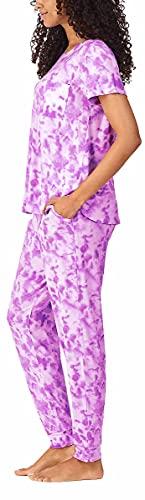 Jane and Bleecker 2 Piece Jogger Pajama Set (Pink Tie Dye, Medium)