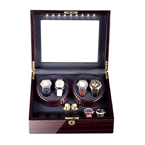 4 + 6 Automatischer Uhrenbeweger Box Slient Motor und 5 Rotationsmodi Uhrenspeicherbox Leiser Motor Netzteil und Batterie für 10 Uhren (Farbe: D)