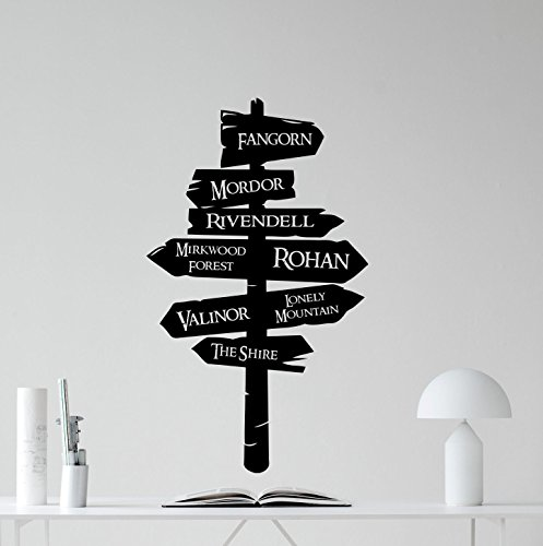 """Pegatina decorativa para pared con texto en inglés """"Lord of the Rings Way"""" Fangorn Mordor Rivendell Rohan, para habitación infantil o dormitorio"""