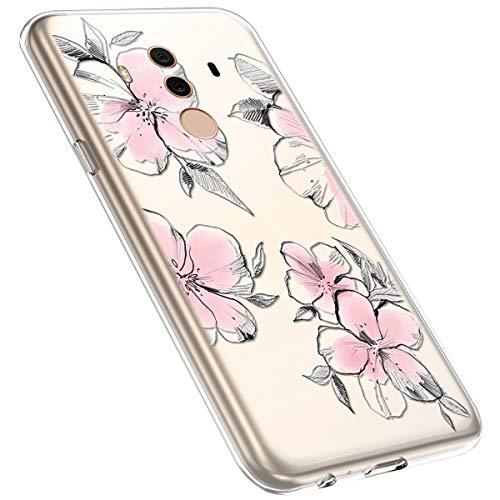 MoreChioce kompatibel mit Huawei Mate 10 Pro Hülle,Huawei Mate 10 Pro Handyhülle Blume,Ultra Dünn Transparent Silikon Schutzhülle Clear Crystal Rückschale Tasche Defender Bumper,Blumenzweig #28