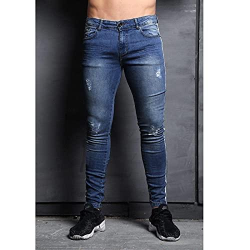 Vaqueros Super Skinny Fit Pantalones De Mezclilla Skinny Slim Fit Pantalones Vaqueros Negros Rasgados A La Moda para Hombre,